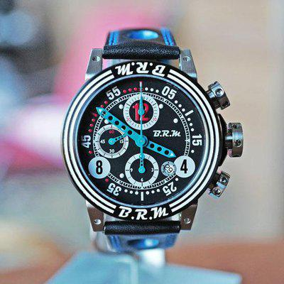 FS BRM V12 AUTOMATIC DATE CHRONOGRAPH BLACK BLUE TEAL 44MM