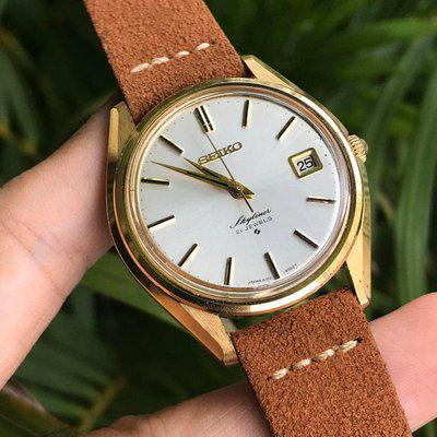 [WTS] Vintage Seiko Skyliner Hand winding, SARB-Grand father with brand new suede strap