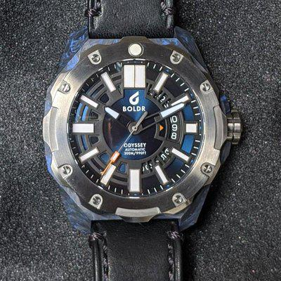 [WTS] BOLDR Odyssey Carbon Dive Watch - Blue - 33 pieces made - 43.5mm - Excellent Condition - Full Set.