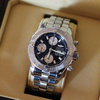 SOLD Stunning! Breitling Auto CSO Chrono SuperOcean Black Dial 42mm A13340 w/ Box, Papers, & Bonus OEM Rubber Strap #2846