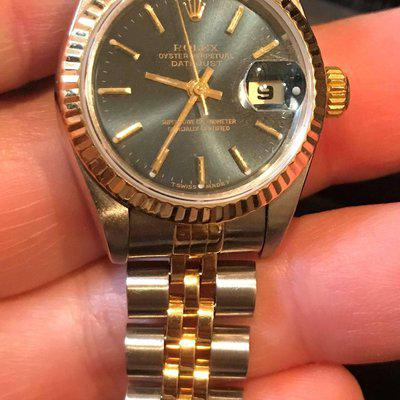 FS: ROLEX ladies 2 tone DATEJUST BLUE DIAL 69173