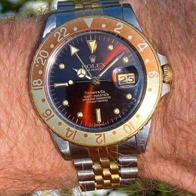 """FS: 1984 Rolex 16753 """"Tiffany & Co"""" Rootbeer GMT Master Nipple Dial"""