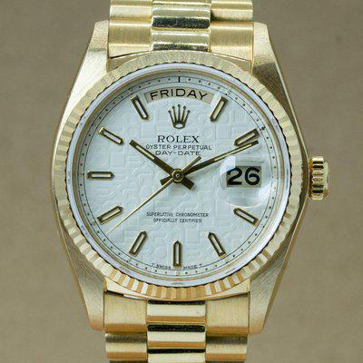 """1980 Rolex Day-Date with Box & Manuals """"White Ivory Jubilee"""""""