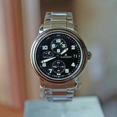 FS BLANCPAIN LAMAN DOUBLE TIME ZONE BLACK MILITARY DIAL 38MM