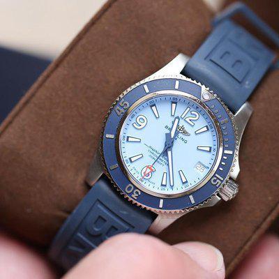 FS:Breitling Superocean 36 Blue Rubber A17316D81C1S1.