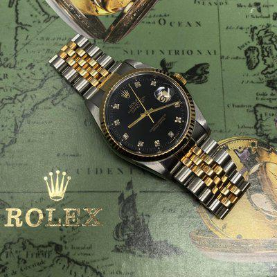 [WTS] Rolex DateJust 16233 Black Dial with Factory Diamonds purchased from the original owner 100% collectors kit