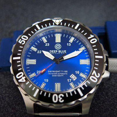 SOLD - Deep Blue Tritium Diver Blue sunburst dial - T100 45mm