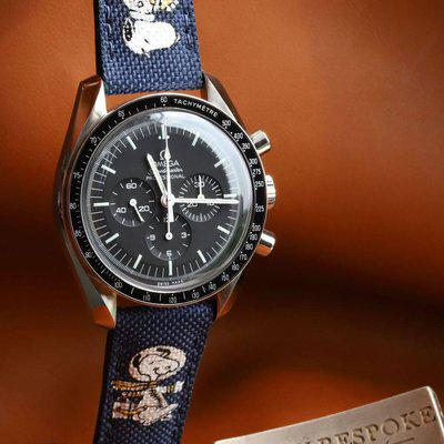 FS : Navy Canvas With Navy Stitching And Hand Painted Astronaut For Omega Speedmaster
