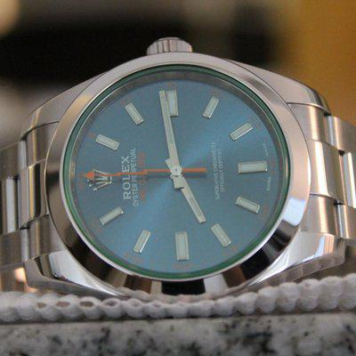 FS: 2018 Rolex Milgauss Z-Blue 40mm 116400 GV Green Crystal 40mm BOXES + PAPERS! WOW