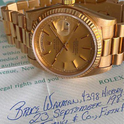 "FSOT: Rolex 18038 ""Tiffany & Co"" Unpolished Day-Date Box & Papers"