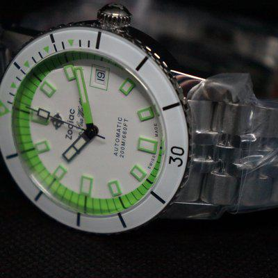 SOLD : Zodiac Super Sea Wolf 53 Compression Automatic Neon Stainless Steel Watch - NIB