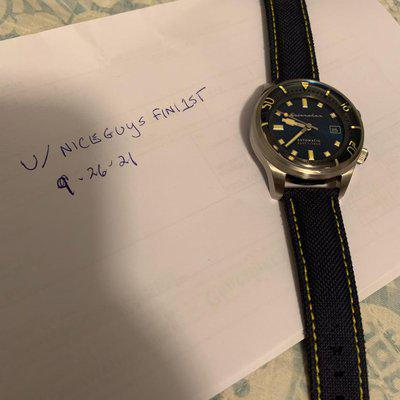 [WTS] Beautiful Blue Sunburst dial Budget Spinnaker diver. Great antique yellow/old radium lume, shines bright. 42mm diameter polished/brushed stainless case. Internal rotating compression style dive bezel. Extra straps, excellent condition, includes extra double sailcloth watchband. Priced $200.00.