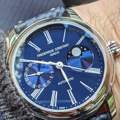 """FS Frederique Constant In-House Moonphase - FC-712MN4H6 - Blue Dial - 42mm - Full Kit - The More """"Sporty"""" Moonphase"""