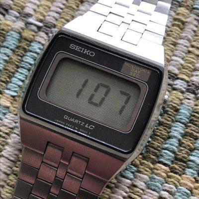 """SOLD: Seiko F023-5019 """"Quartz LC"""" Digital Watch - early model - very thin. EXC condition"""