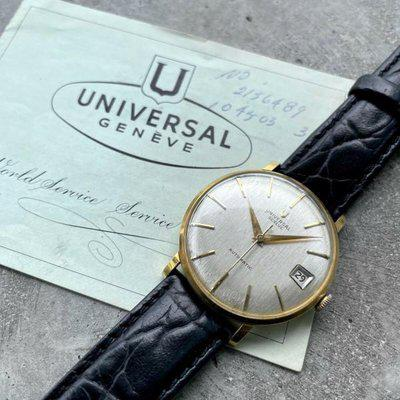 Universal Geneve 35mm 18K Gold Micro Rotor Automatic 104603 - Original Papers!