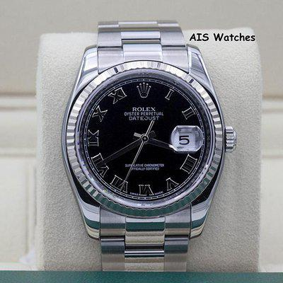 FSOT: Rolex Datejust 36MM 116234 Black Roman Dial Oyster Box & Papers