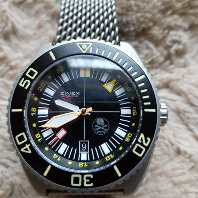 BEAD BLASTED TRIMIX GMT WITH PIRATE DIAL 1600.00