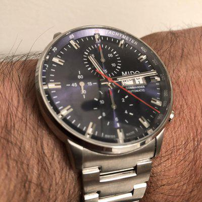 FS Mido Commander II Chronograph Automatic Blue Dial- mint condition, price reduction