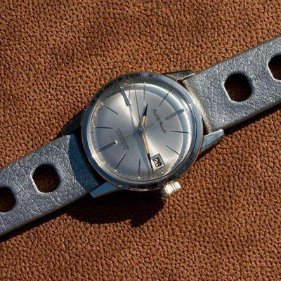 Perfect for Heuer 2447 grey big holes Genuine Tropic 18mm