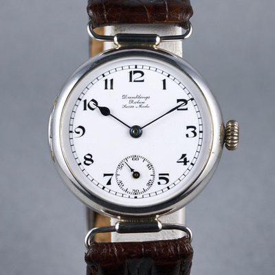 "FS: 1910's Rolex Silver Trench Watch with ""Dunklings"" Double Name Porcelain Dial"
