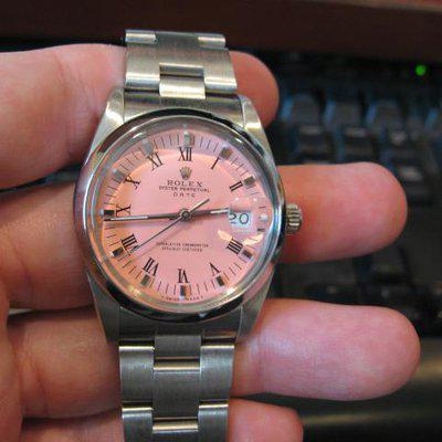 """Fs: Rolex 34mm stainless steel """"date"""" cotton candy pink dial"""