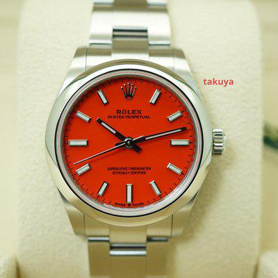 FSOT:BNIB Rolex 277200 OYSTER PERPETUAL 31MM CORAL RED DIAL 2021 COMPLETE SET