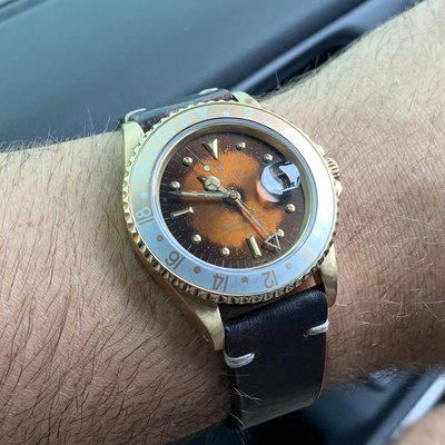 FS: Rolex LAVA DIAL 18K GMT Master Root Beer 16758 Amazing Patina! 1675 8 Gold