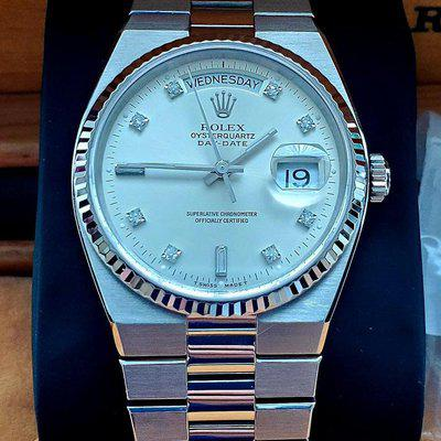 WTS: Rolex Oysterquartz Day Date 19019 White Gold with Factory Silver Diamond Dial