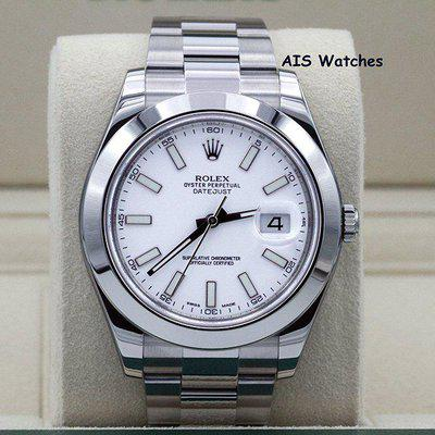 FSOT: Rolex Datejust II 41MM 116300 White Stick Dial Stainless Steel Box & Papers
