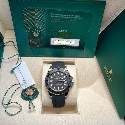 FS Rolex 268655 Yacht Master New 2021 in Everose on Oysterflex 37mm full set Current Card.