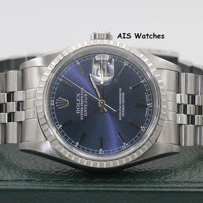 FSOT: Rolex Datejust 36MM 16220 Blue Stick Dial Jubilee A Serial Box & Papers