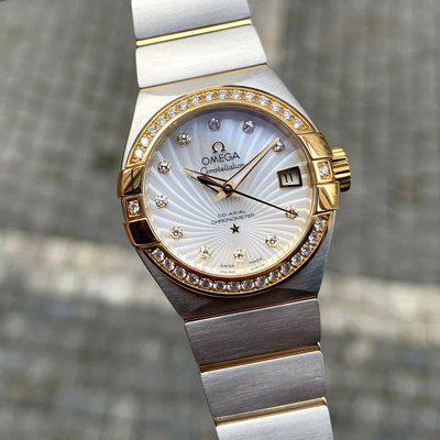 Omega Constellation Steel & Gold Co-Axial Diamonds MOP Dial 27mm
