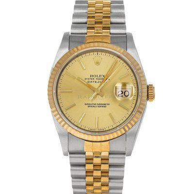 FS- Rolex 16233 Datejust E Champagne Dial Steel 18K Gold Box Papers Like-NOS