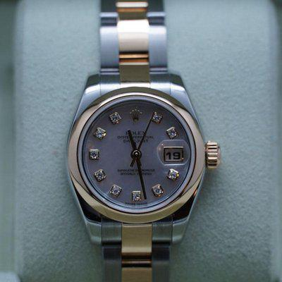 FSOT: Ladies Rolex Datejust Two Tone 26mm F 179163 Mother of Pearl Diamond Dial