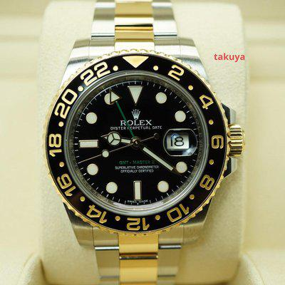 FSOT:Rolex 116713LN GMT MASTER II CERAMIC 18K YELLOW GOLD STEEL 2015 BOXES PAPERS
