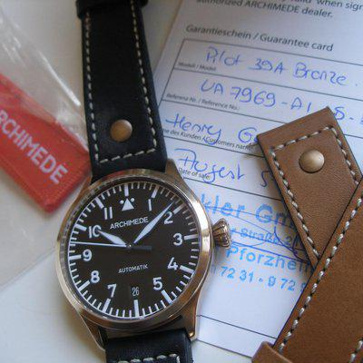 FS: Archimede Bronze Pilot 39 Auto... LNIB... upgraded Blued Hands/Solid SS Caseback/New Extra Strap w/ Bronze Buckle... Reduced!