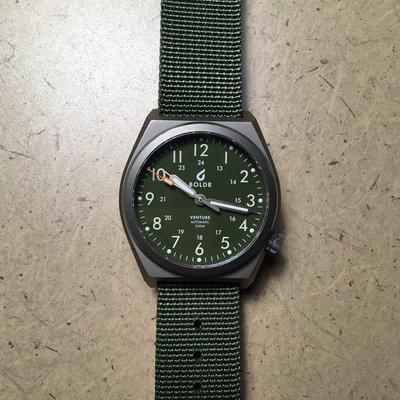 FS - BOLDR 38mm Venture Green Field Watch and Bracelet - Good Condition - $325
