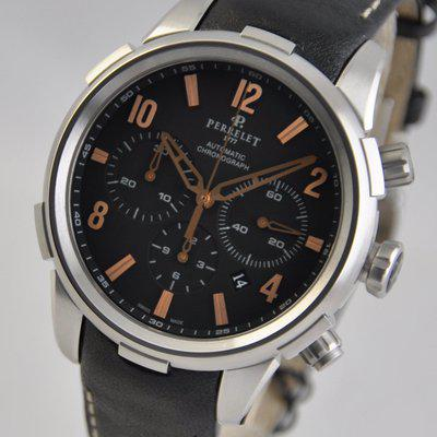 FS: Perrelet Class-T 3 Hands Chronograph Automatic Black 44mm Steel A1069/3 Automatic Strap