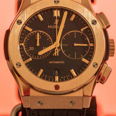 FS: HUBLOT CLASSIC FUSION CHRONOGRAPH 18K KING GOLD 45MM CROCODILE LEATHER STRAP w/ Box & Papers COMPLETE