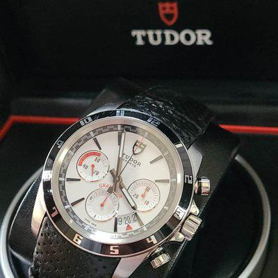 FSOT: Tudor Grantour Chronograph (20530N) Watch - 43mm, Hard to Find White/Black Dial, Complete Set - $2,475