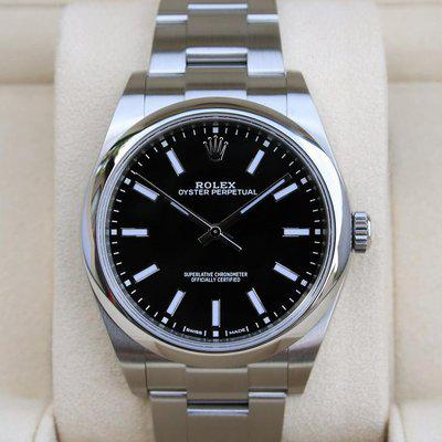 FS: Rolex 114300 Oyster Perpetual 39MM Black Dial Box and Paper