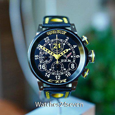 FS BRM CORVETTE CR7 CHRONOGRAPH 24HR BLACK & YELLOW LTD OF 24 UNITS 44MM