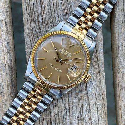 1984 Rolex 16013 Datejust 36mm 8.4 Million Serial Golden Taupe Ghost Dial Box Papers