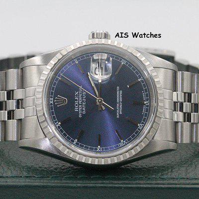 FSOT - Rolex Datejust 36MM 16220 Blue Stick Dial Jubilee A Serial Box & Papers