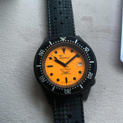 Squale 1521 full lume orange dial PVD Rare 1 of only 50 worn once £750