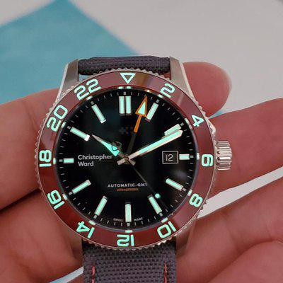 SOLD: Christopher Ward 42mm C60 600 GMT Red Bezel Full kit with Extras