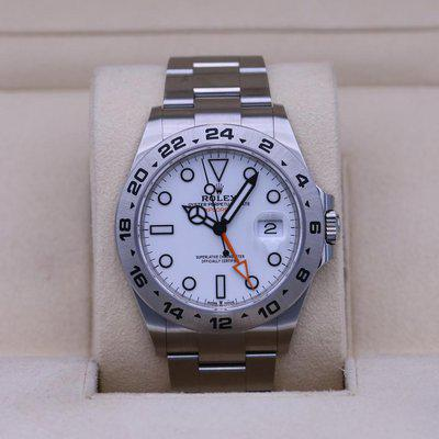 FSOT: Rolex Explorer II 226570 White Dial 42mm Stainless – 2021 Box and Papers