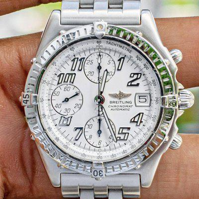 Breitling Chronomat Vitesse 41 White Box Papers Brushed Pilot Bracelet Silver Vintage