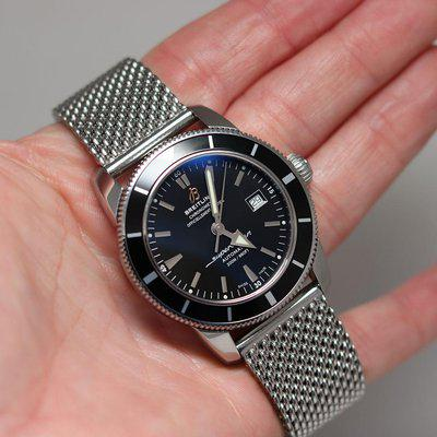 Breitling SuperOcean Heritage Black Bezel/Dial 42mm A17321 on OEM Mesh w/ Box, Papers/Fresh Service! #2863