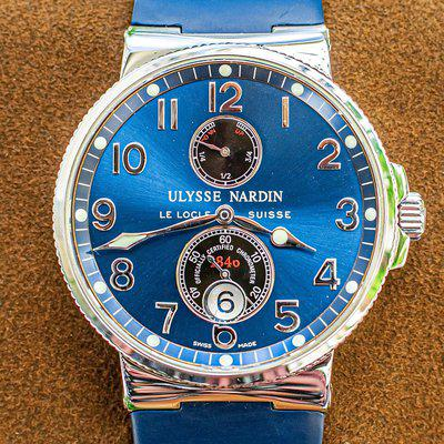 Ulysse Nardin Marine Chronometer Blue 41 $8.2K MSRP Rubber Deploy Power Reserve 263-66-3